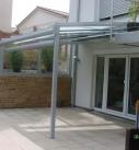 Ansicht der Seitenverglasung am Terrassendach